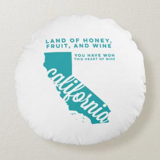 california | song lyrics | teal round pillow