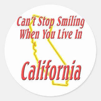 California - sonriendo etiqueta redonda