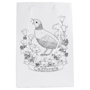 California State Bird And Flower Coloring Page Medium Gift Bag
