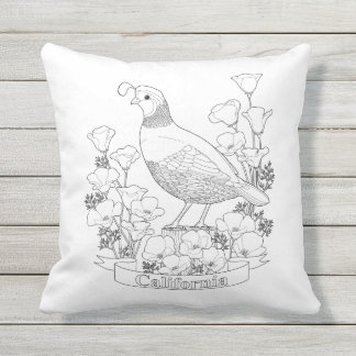 California State Bird and Flower Coloring Page Outdoor Pillow
