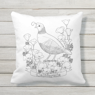 California State Bird and Flower Coloring Page
