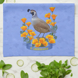 California State Bird Quail & Golden Poppy Hand Towel