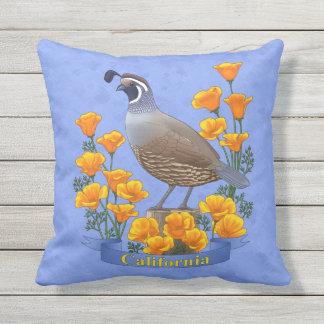 California State Bird Quail & Golden Poppy Throw Pillow