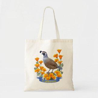 California State Bird Quail & Golden Poppy Tote Bag