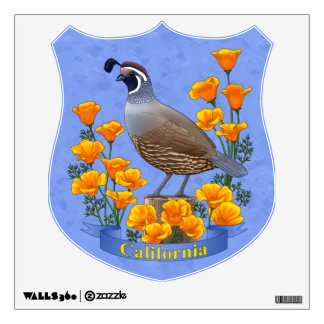 California State Bird Quail & Golden Poppy Wall Sticker