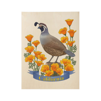 California State Bird Quail & Golden Poppy Wood Poster