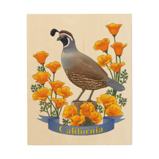 California State Bird Quail & Golden Poppy Wood Print