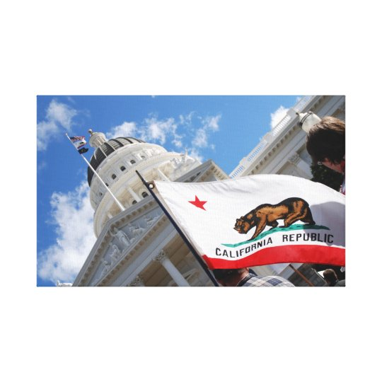 California State Capitol and Flag Canvas Print