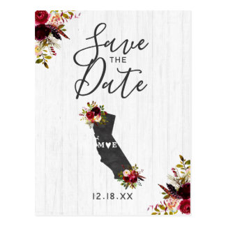 California State Destination Rustic Save the Date Postcard