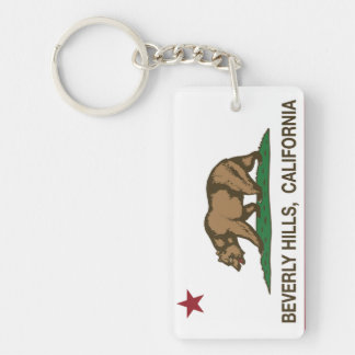California State Flag Beverly Hills Double-Sided Rectangular Acrylic Keychain