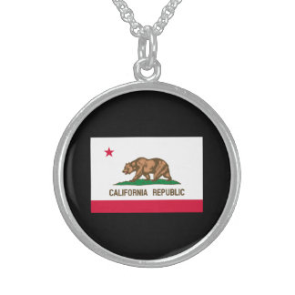 California State Flag Design Sterling Silver Necklace