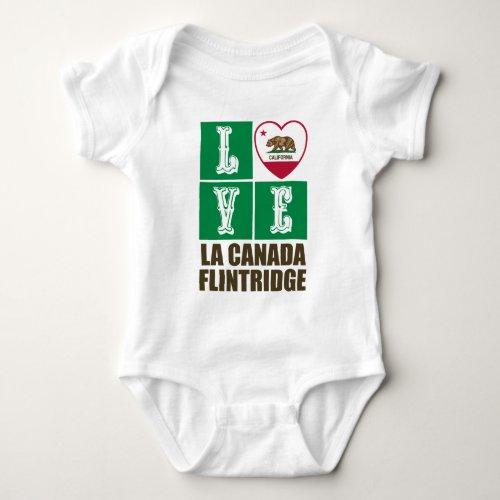 California State Flag Heart Love La Canada Flintridge Baby Bodysuit