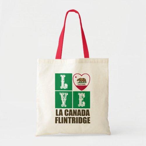 California Republic State Flag Heart Love La Canada Flintridge Tote Bag