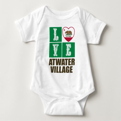 California Republic State Flag Heart Love Atwater Village Baby Bodysuit