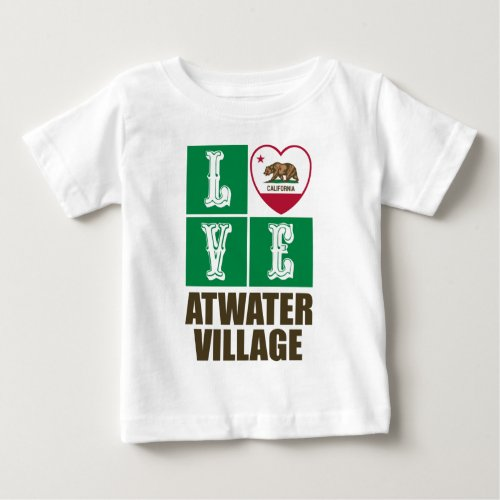 California Republic State Flag Heart Love Atwater Village Baby T-Shirt