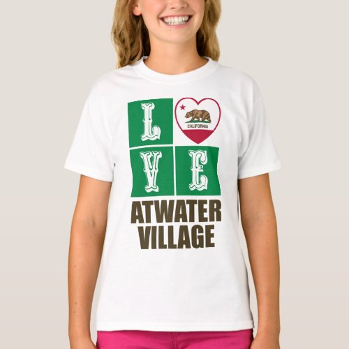 California Republic State Flag Heart Love Atwater Village T-Shirt