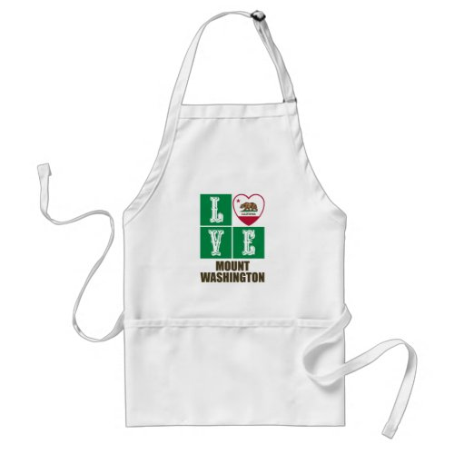 California Republic State Flag Heart Love Mount Washington Adult Apron