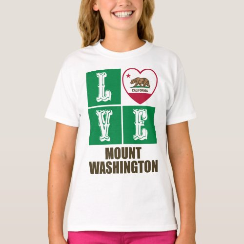 California Republic State Flag Heart Love Mount Washington T-Shirt