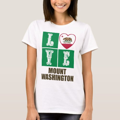California State Flag Heart Love Mount Washington T-Shirt