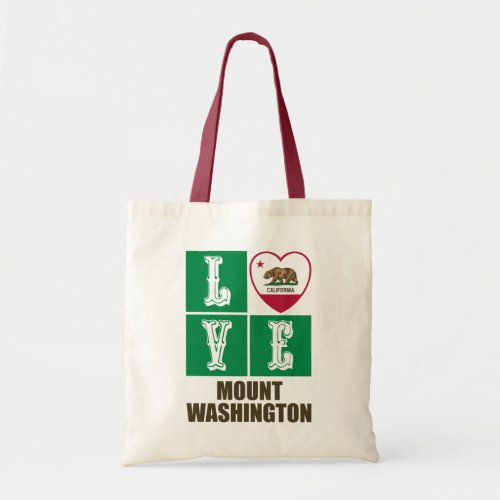 California Republic State Flag Heart Love Mount Washington Tote Bag