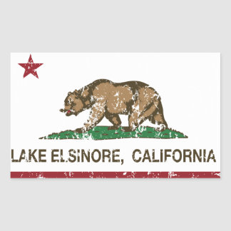 California State Flag Lake Elsinore Rectangular Sticker