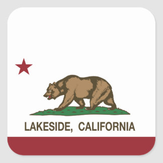 California State Flag Lakeside Square Sticker