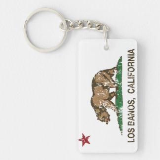 California State Flag Los Banos Double-Sided Rectangular Acrylic Keychain
