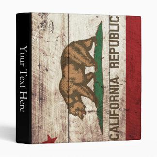 California State Flag on Old Wood Grain 3 Ring Binder