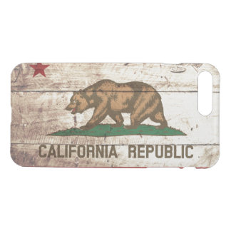California State Flag on Old Wood Grain iPhone 7 Plus Case