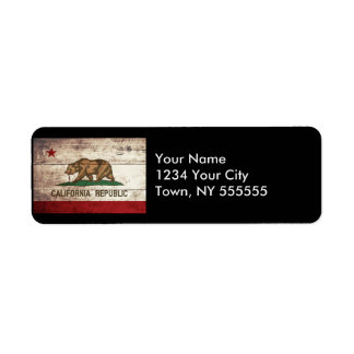 California State Flag on Old Wood Grain Label