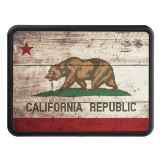 California State Flag on Old Wood Grain Hitch Covers