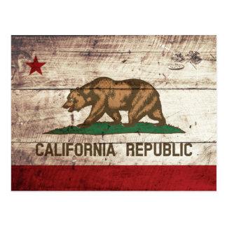 California State Flag on Old Wood Grain Postcard