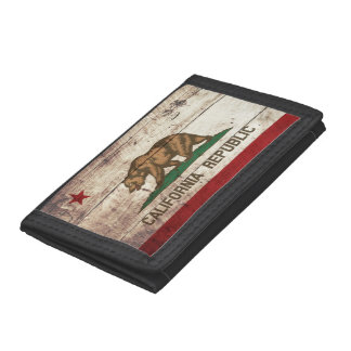 California State Flag on Old Wood Grain Trifold Wallet