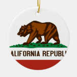 California State Flag Double-Sided Ceramic Round Christmas Ornament