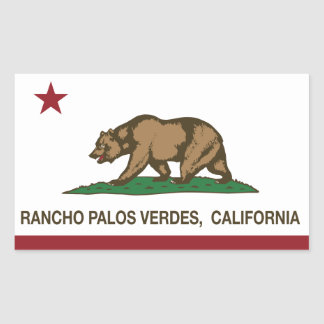 California State Flag Rancho Palos Verdes Rectangular Sticker
