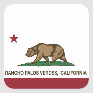 California State Flag Rancho Palos Verdes Square Sticker