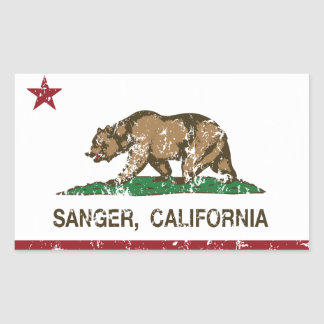 California State Flag Sanger Rectangular Sticker