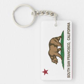 California State Flag South San Francisco Double-Sided Rectangular Acrylic Keychain
