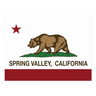 California state Flag Spring Valley Postcard