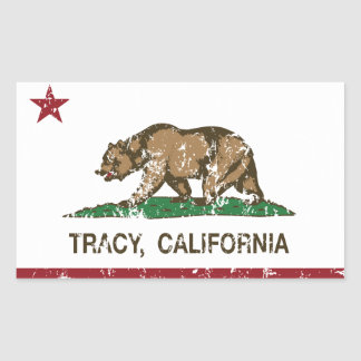 California State Flag Tracy Rectangular Stickers