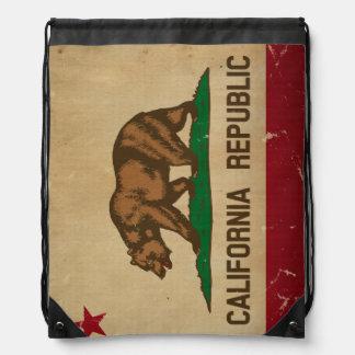 California State Flag VINTAGE Drawstring Backpack