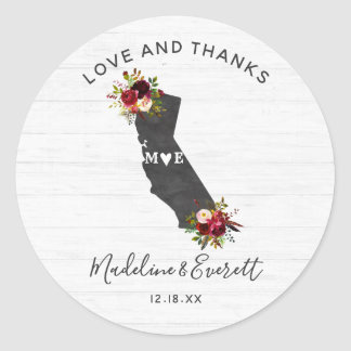 California State Floral Rustic Wedding Thank You Classic Round Sticker