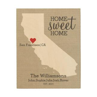 California State Love Custom Family Name Establish Wood Wall Art