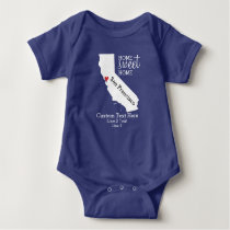California State Love Home Sweet Home Custom Map Baby Bodysuit