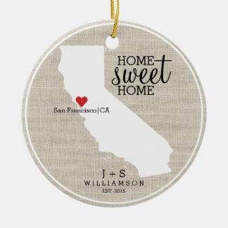 California State Love Home Sweet Home Custom Map Ceramic Ornament