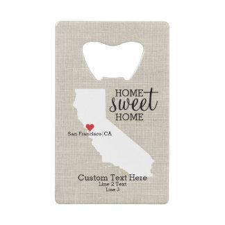 California State Love Home Sweet Home Custom Map Credit Card Bottle Opener