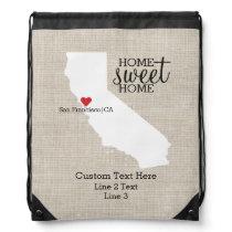 California State Love Home Sweet Home Custom Map Drawstring Bag