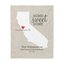 California State Love Home Sweet Home Custom Map Fleece Blanket