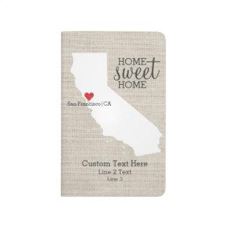 California State Love Home Sweet Home Custom Map Journal