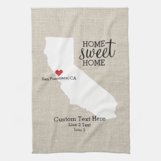 California State Love Home Sweet Home Custom Map Kitchen Towel at Zazzle